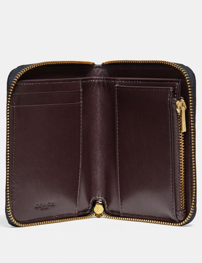 Coach Small Zip Around Wallet With Rivets Brass/Midnight Navy Women Small Leather Goods Small Wallets Alternate View 1