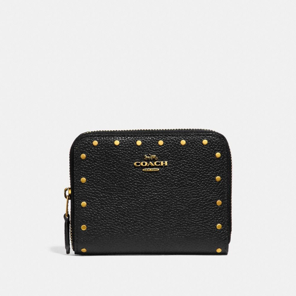 Coach Small Zip Around Wallet With Rivets