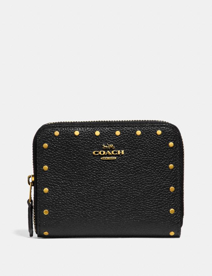 Coach Small Zip Around Wallet With Rivets Black/Brass Women Small Leather Goods Small Wallets