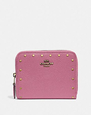 Womens small wallets coach small zip around wallet with rivets mightylinksfo