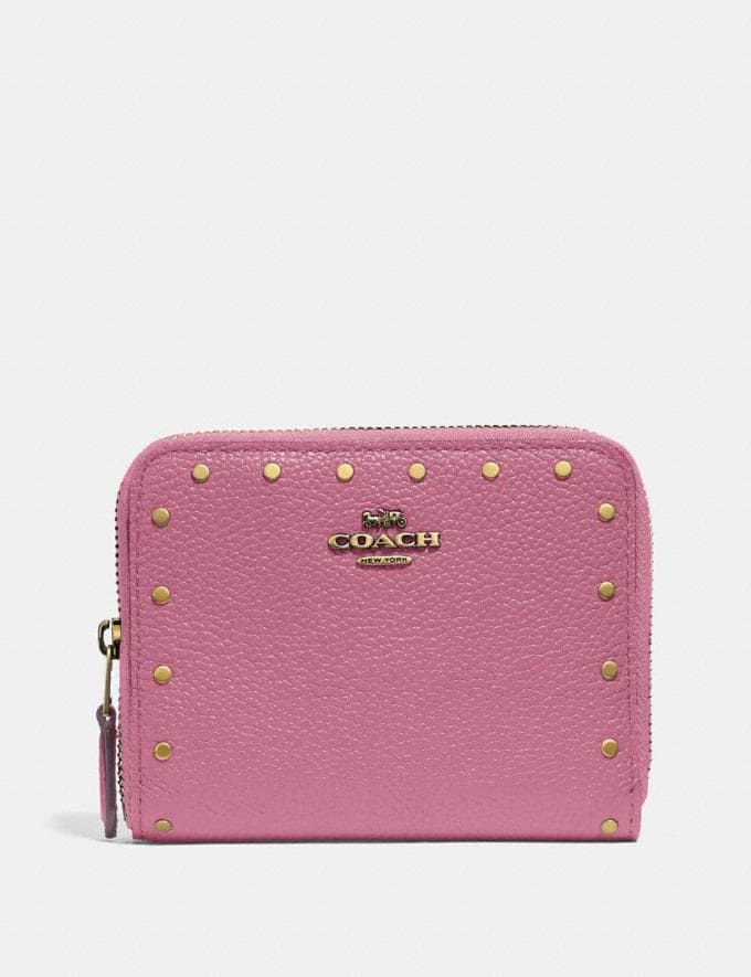 Coach Small Zip Around Wallet With Rivets Brass/Midnight Navy Women Small Leather Goods Small Wallets