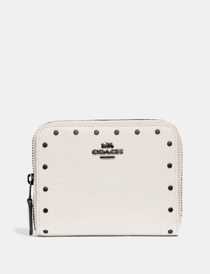 Coach Small Zip Around Wallet With Rivets Chalk/Black Copper Women Small Leather Goods Small Wallets