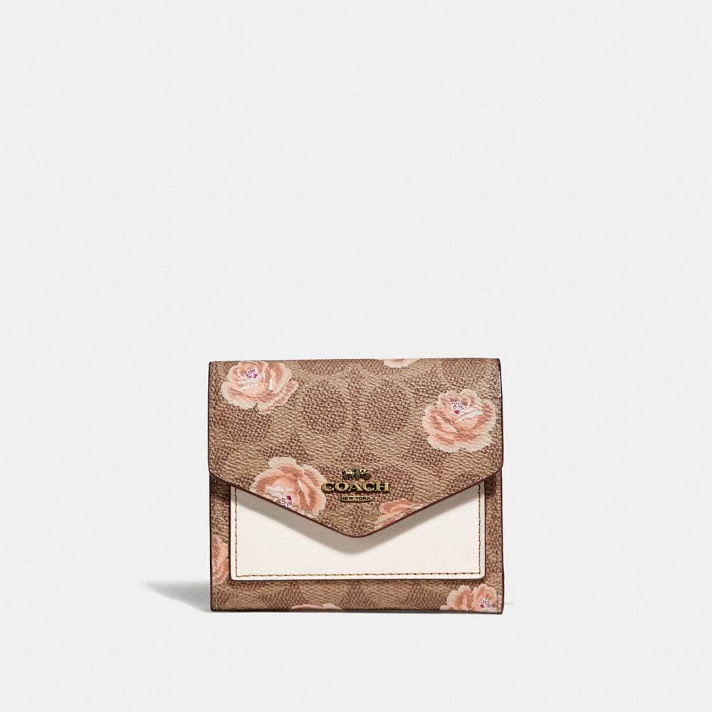 Coach Small Wallet In Signature Rose Print Women S In Tan Brass