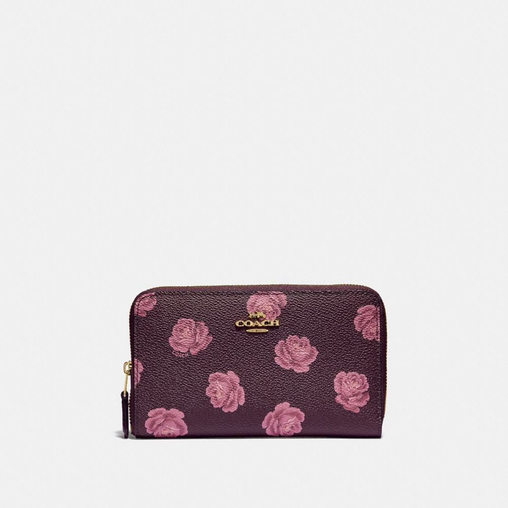 medium zip around wallet with rose print