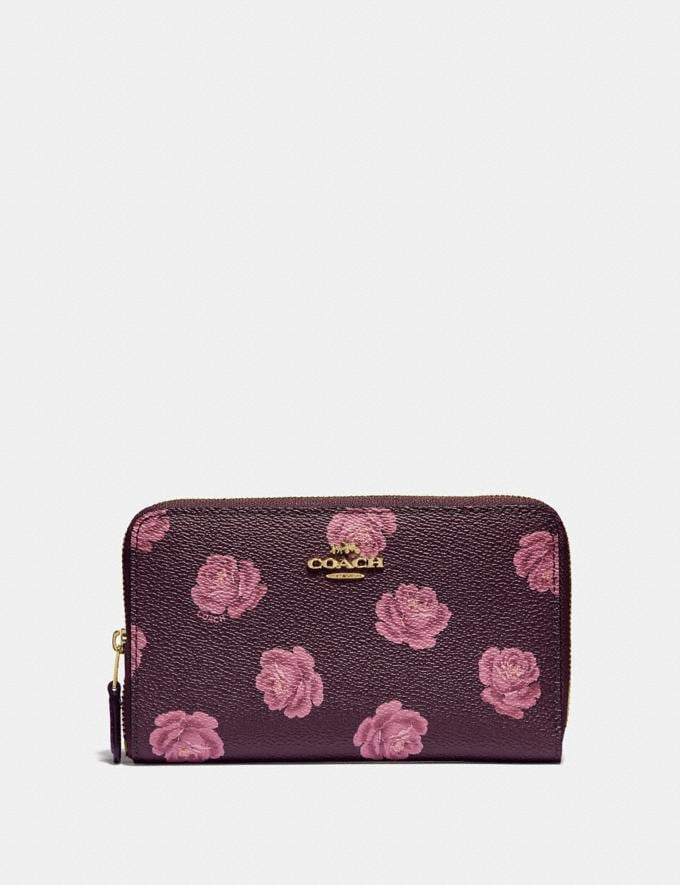 Coach Medium Zip Around Wallet With Rose Print Oxblood Rose Print/Gold Women Wallets & Wristlets Small Wallets