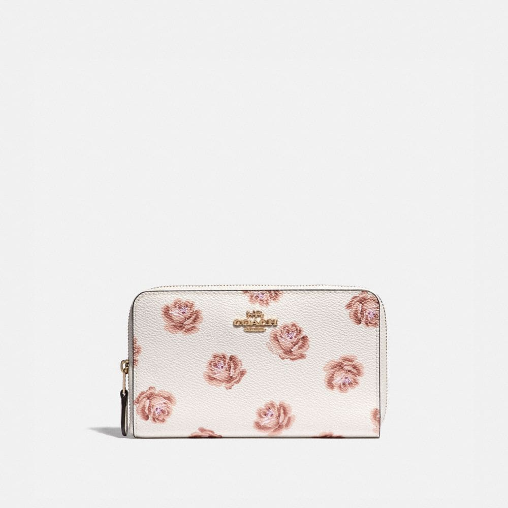 Coach Medium Zip Around Wallet With Rose Print