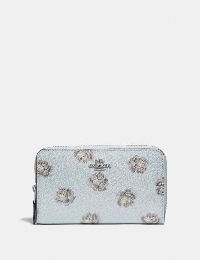 Coach Medium Zip Around Wallet With Rose Print Sky Rose Print/Silver Women Wallets Large Wallets