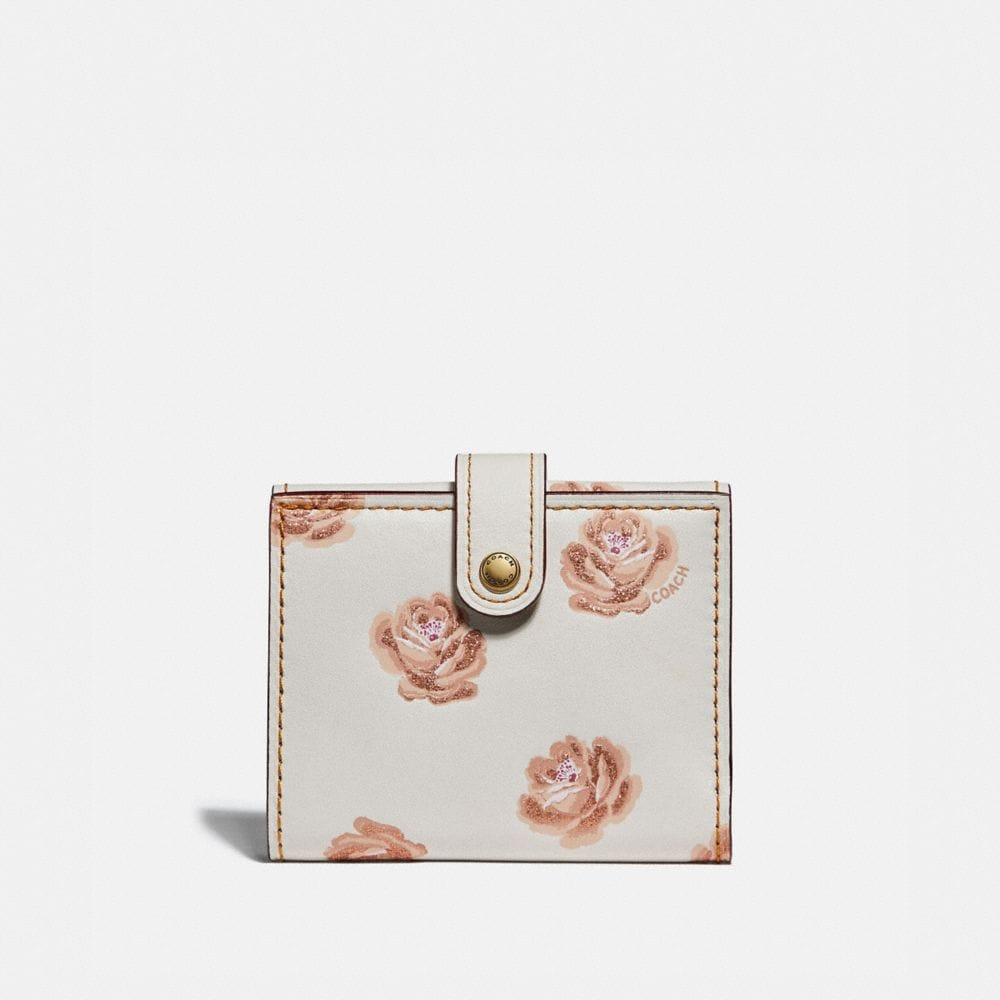 Coach Small Trifold Wallet With Rose Print