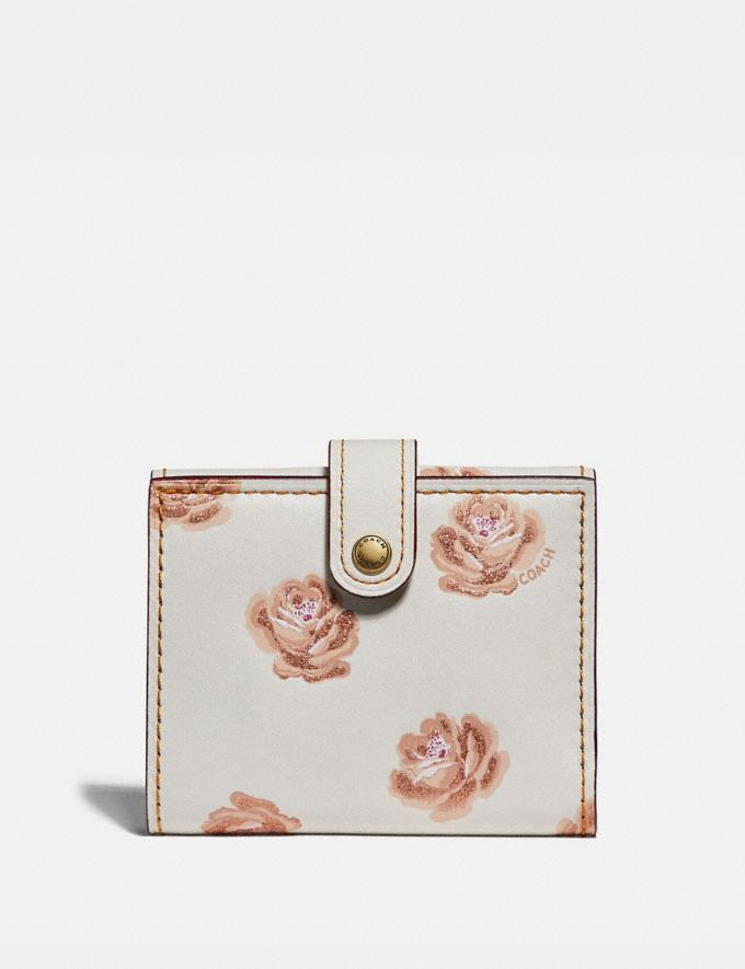 Coach Small Trifold Wallet With Rose Print Chalk Rose Print/Brass Women Wallets Large Wallets