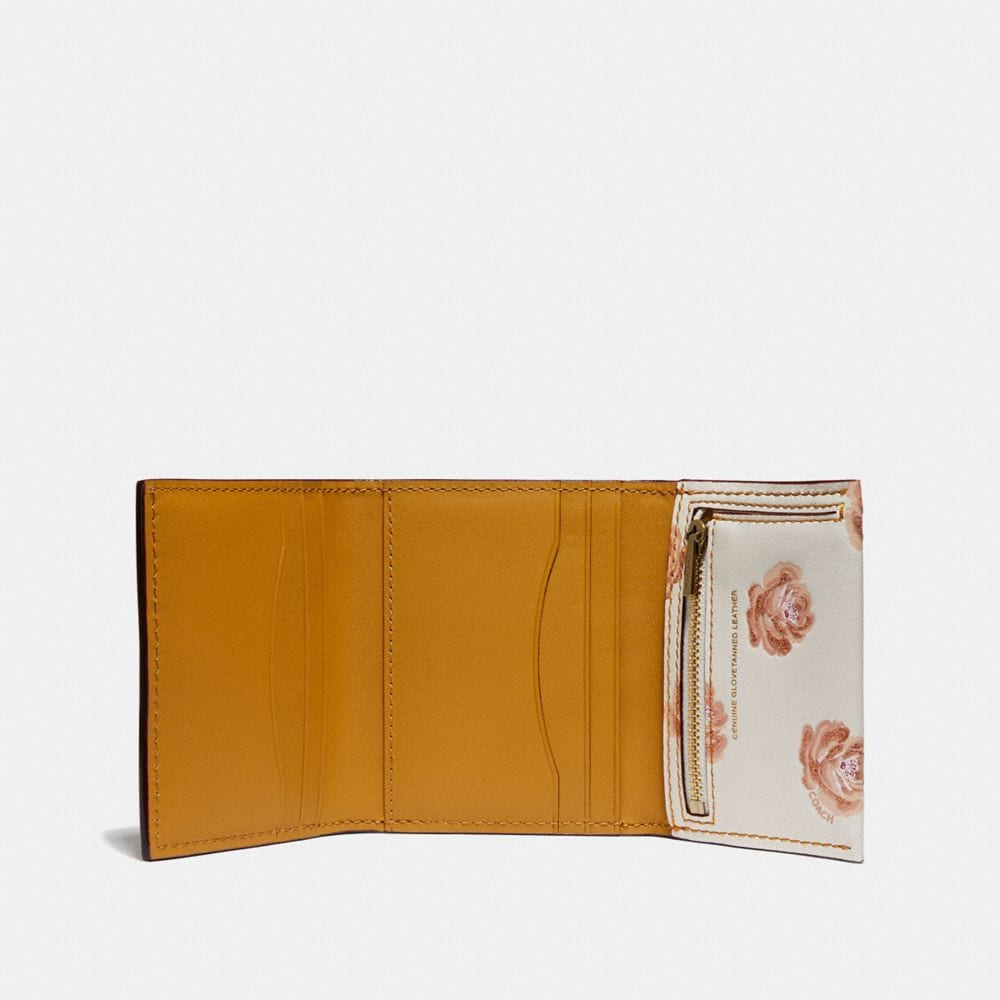 Coach Small Trifold Wallet With Rose Print Alternate View 1