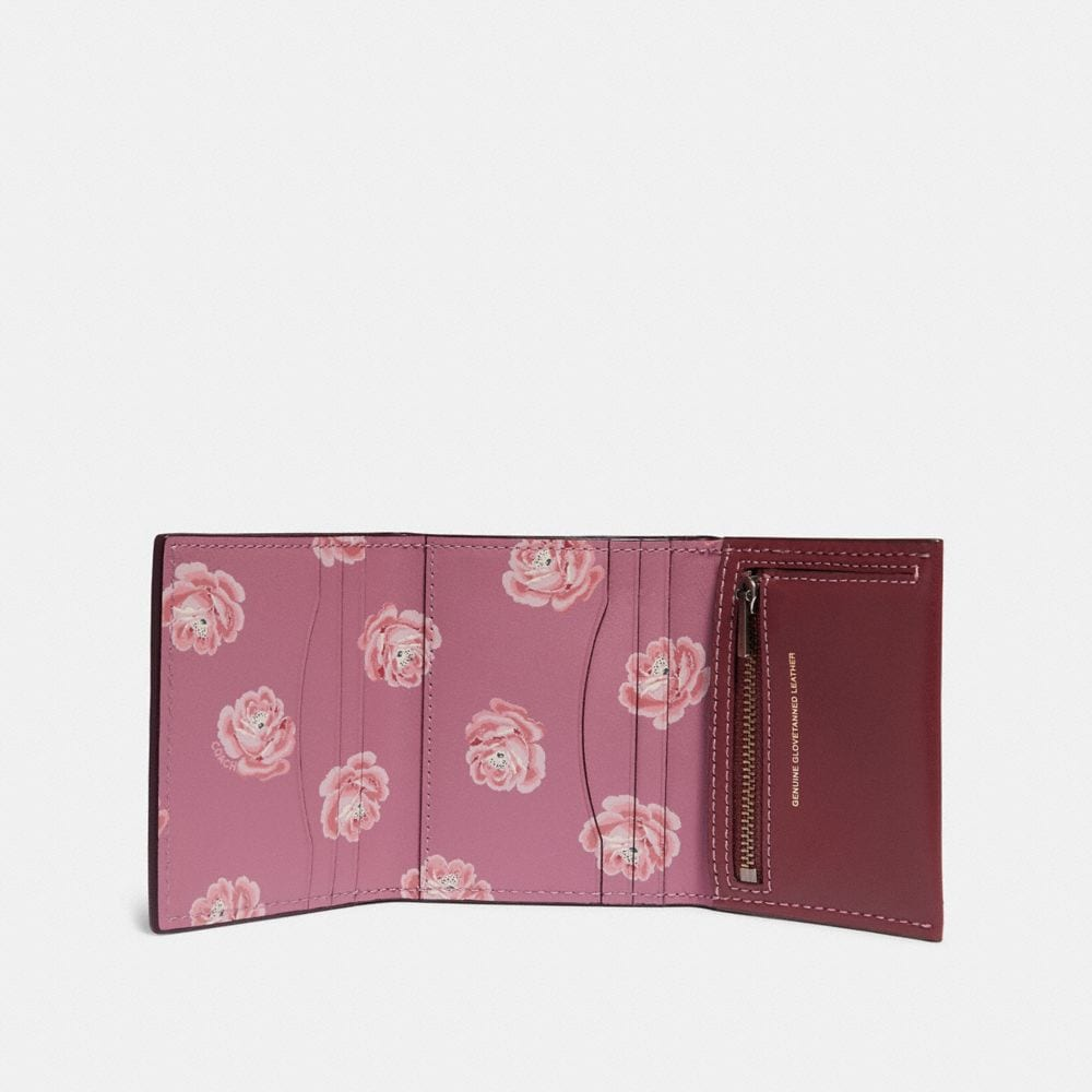 Coach Small Trifold Wallet With Rose Print Interior Alternate View 1