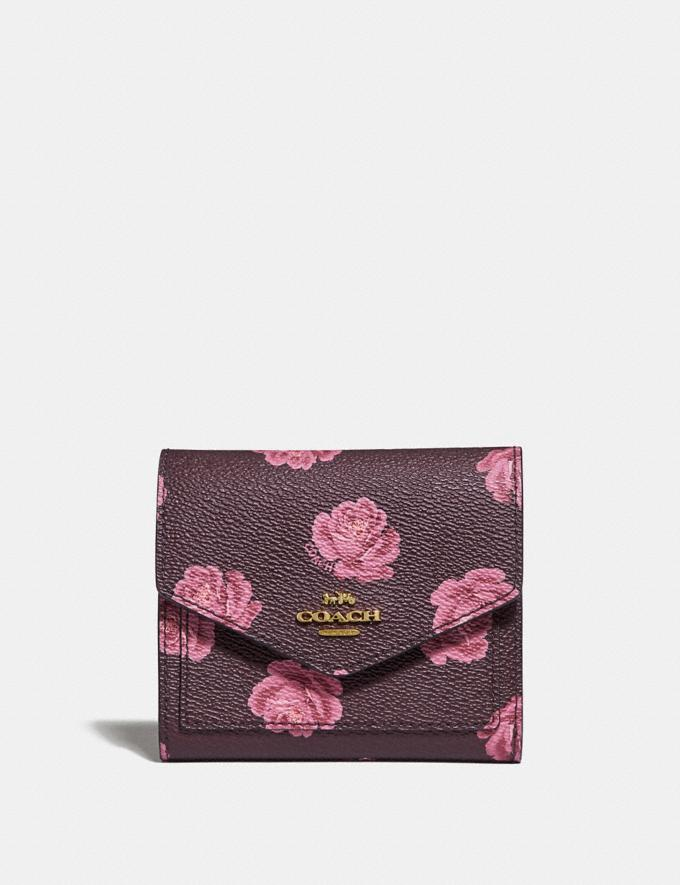 Coach Small Wallet With Rose Print Oxblood Rose Print/Gold New Featured Women New Top Picks