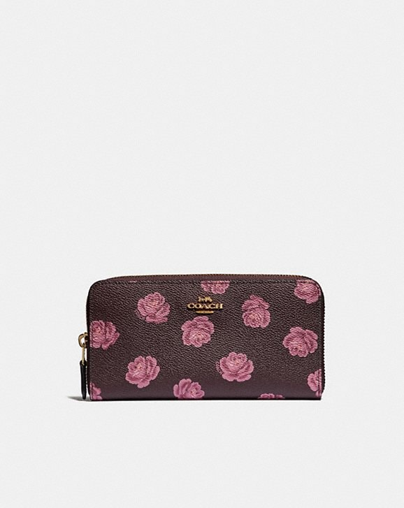 81fac36c8abc COACH  Accordion Zip Wallet With Rose Print