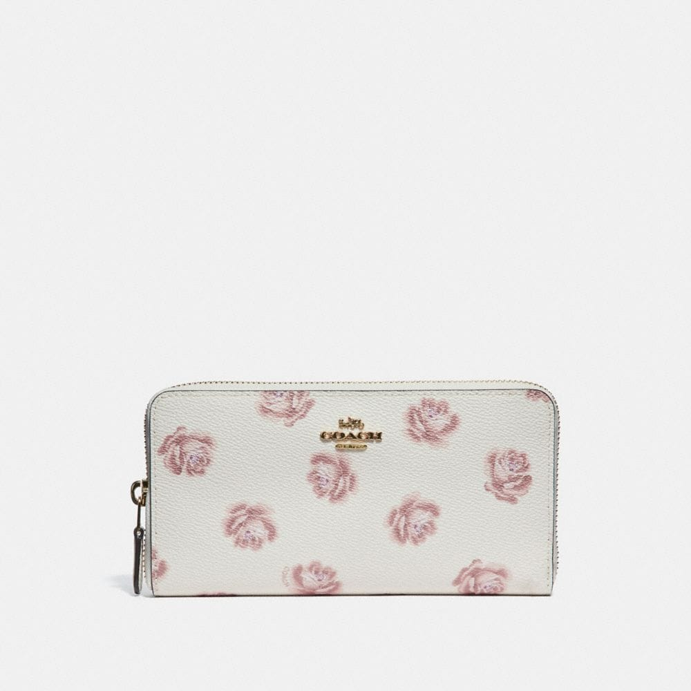 Coach Accordion Zip Wallet With Rose Print