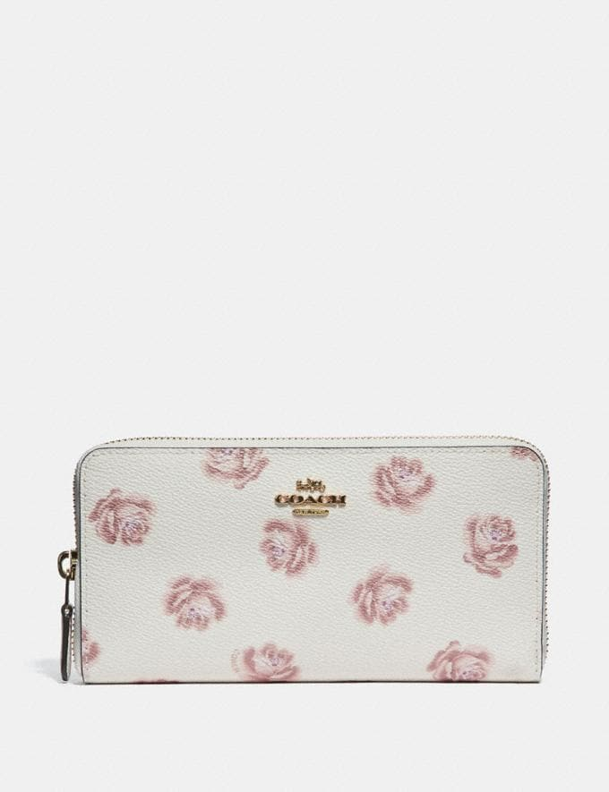 Coach Accordion Zip Wallet With Rose Print Chalk Rose Print/Light Gold New Featured Online Exclusives