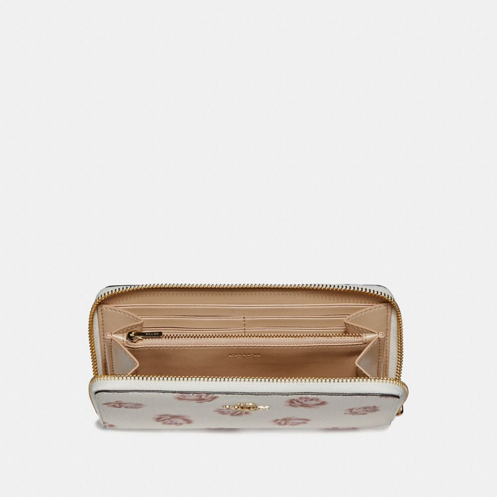Coach Accordion Zip Wallet With Rose Print Alternate View 1