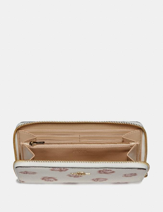 Coach Accordion Zip Wallet With Rose Print Chalk Rose Print/Light Gold New Featured Online Exclusives Alternate View 1