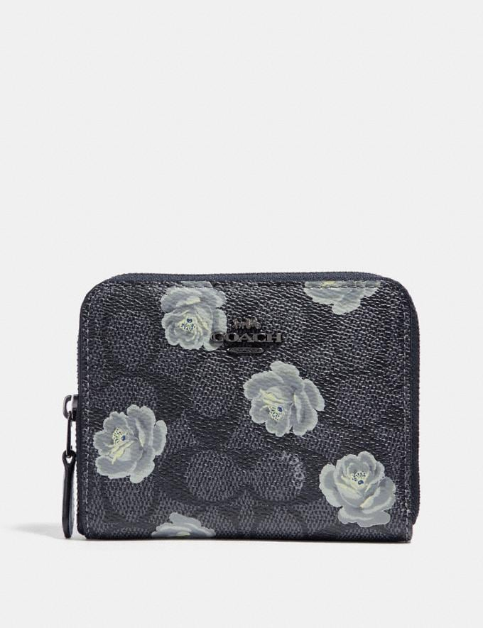 Coach Small Zip Around Wallet in Signature Rose Print Charcoal/Sky/Dark Gunmetal Women Small Leather Goods Small Wallets