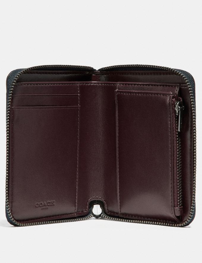Coach Small Zip Around Wallet in Signature Rose Print Charcoal/Sky/Dark Gunmetal Women Bags Signature Bags Alternate View 1