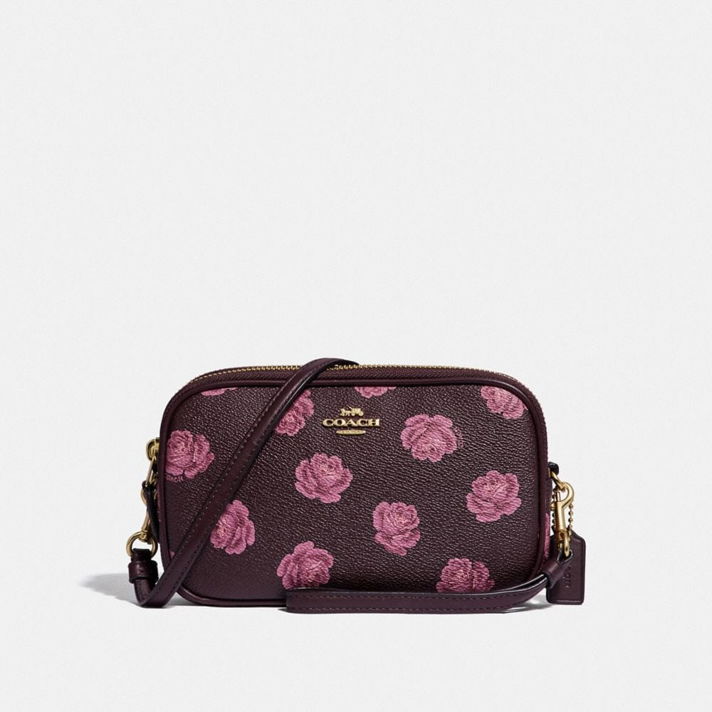 Coach Sadie Crossbody Clutch With Rose Print