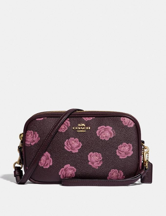 Coach Sadie Crossbody Clutch With Rose Print Oxblood Rose Print/Gold Women Bags Crossbody Bags