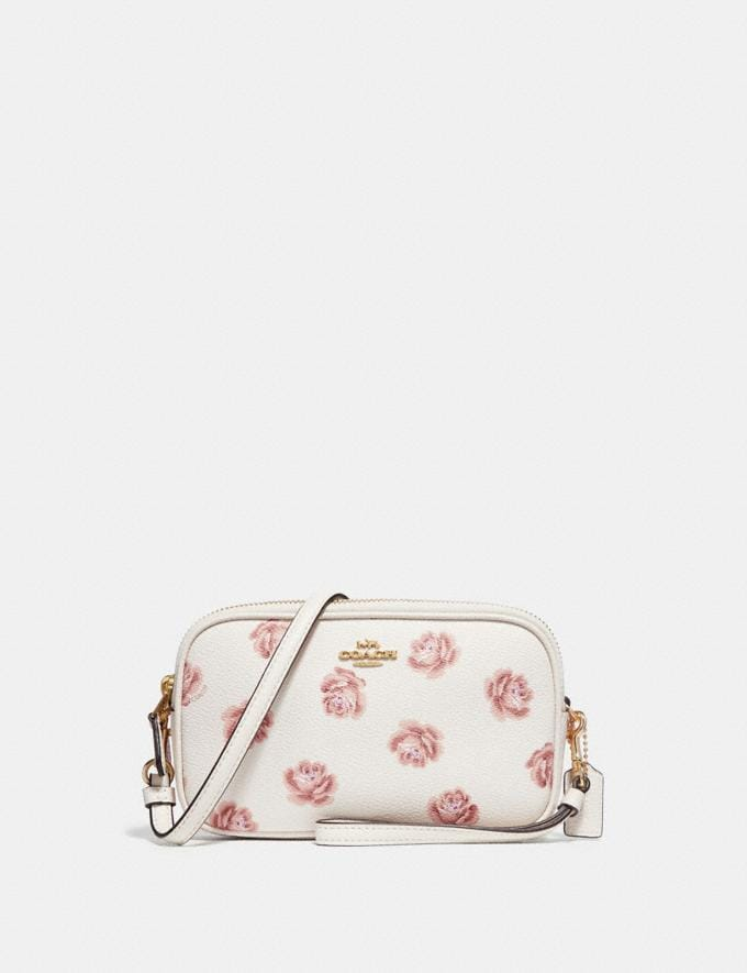 Coach Sadie Crossbody Clutch With Rose Print Chalk Rose Print/Light Gold New Featured Online Exclusives