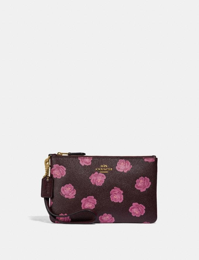 Coach Small Wristlet With Rose Print Oxblood Rose Print/Gold SALE Women's Sale 50% off