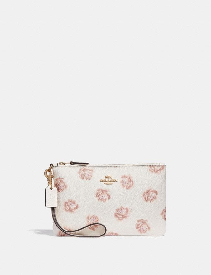 Coach Small Wristlet With Rose Print Chalk Rose Print/Light Gold New Featured Online Exclusives