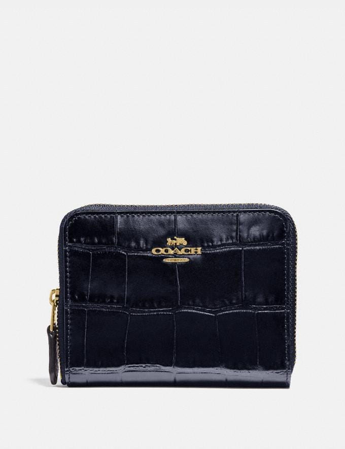 Coach Small Zip Around Wallet Li/Midnight Navy Women Small Leather Goods Small Wallets