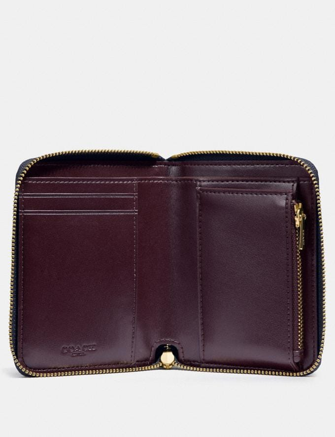 Coach Small Zip Around Wallet Li/Midnight Navy Women Small Leather Goods Small Wallets Alternate View 1