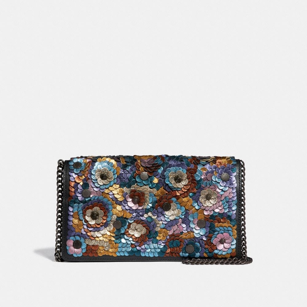foldover chain clutch with leather sequin