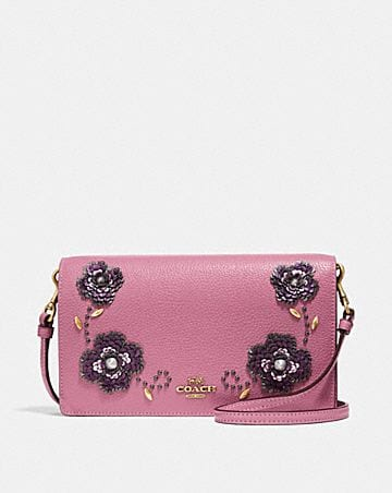 Foldover Crossbody Clutch With Leather Sequin Lique