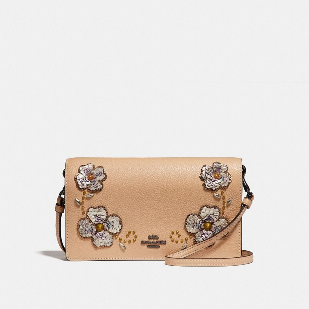 Coach Foldover Crossbody Clutch With Leather Sequin Applique