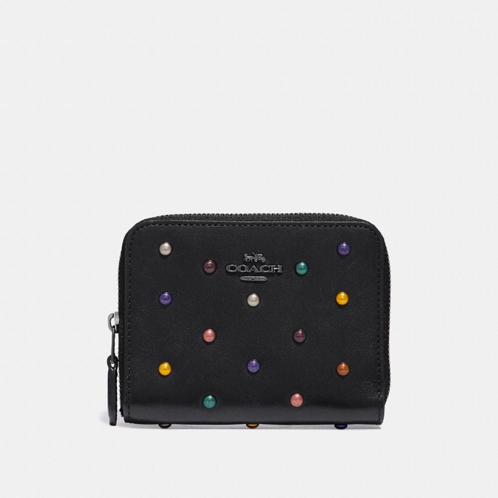 SMALL ZIP AROUND WALLET IN POLISHED PEBBLE LEATHER WITH RAINBOW RIVETS