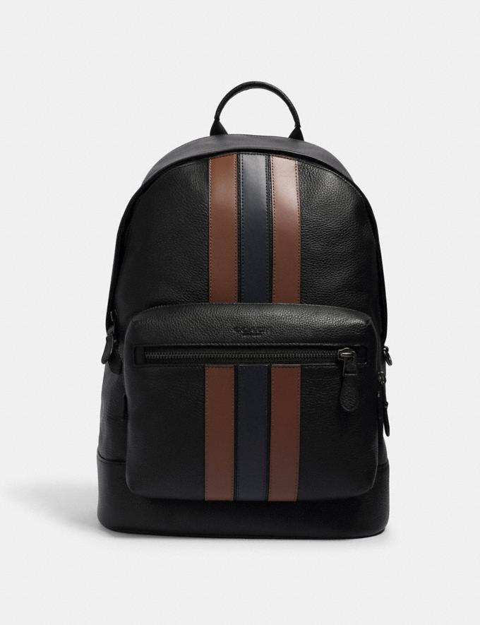 Coach West Backpack With Pieced Varsity Stripe Qb/Black Saddle/Midnight