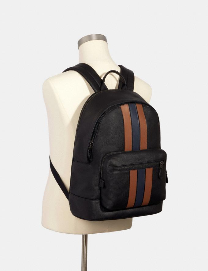 Coach West Backpack With Pieced Varsity Stripe Qb/Black Saddle/Midnight  Alternate View 2