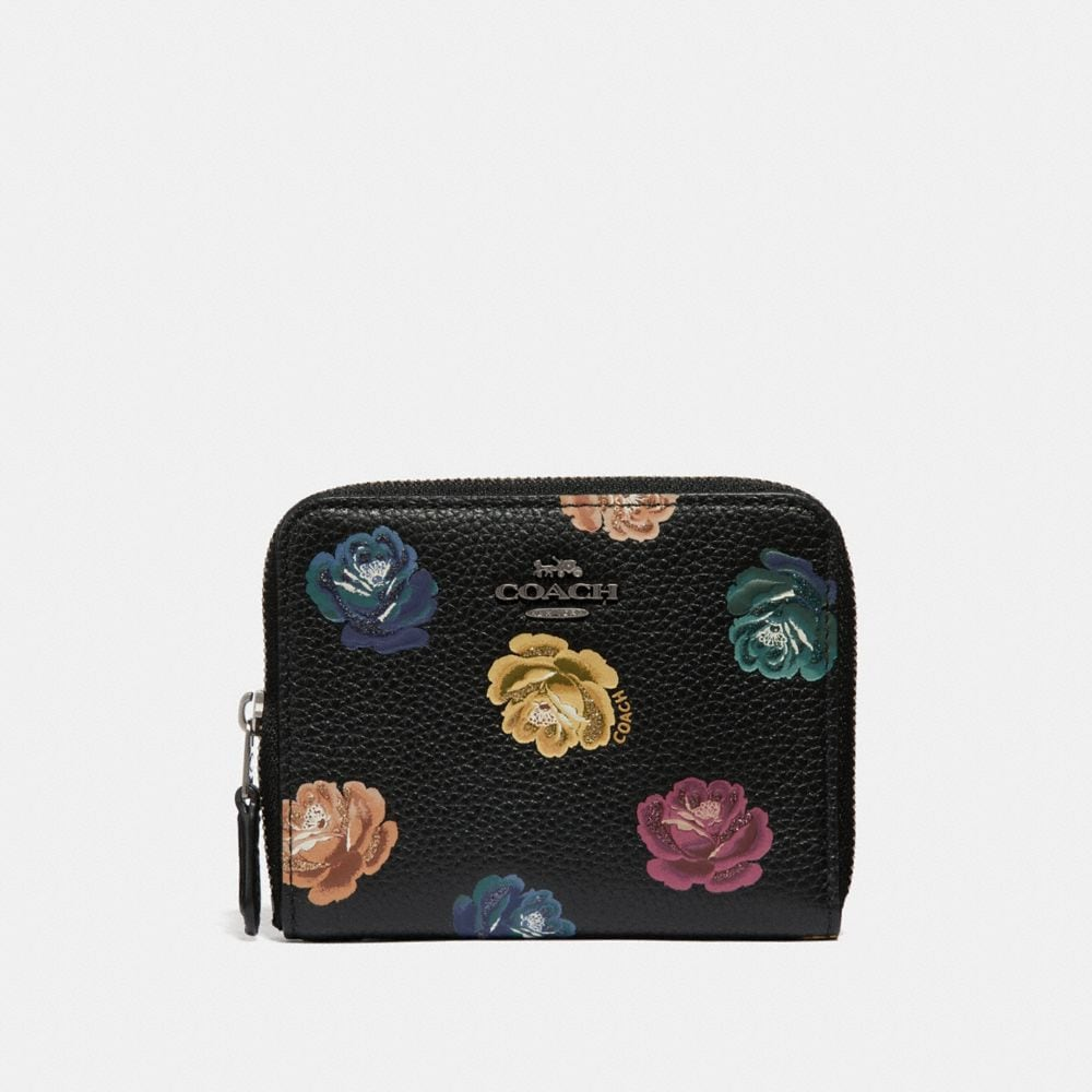 small zip around wallet with rainbow rose print