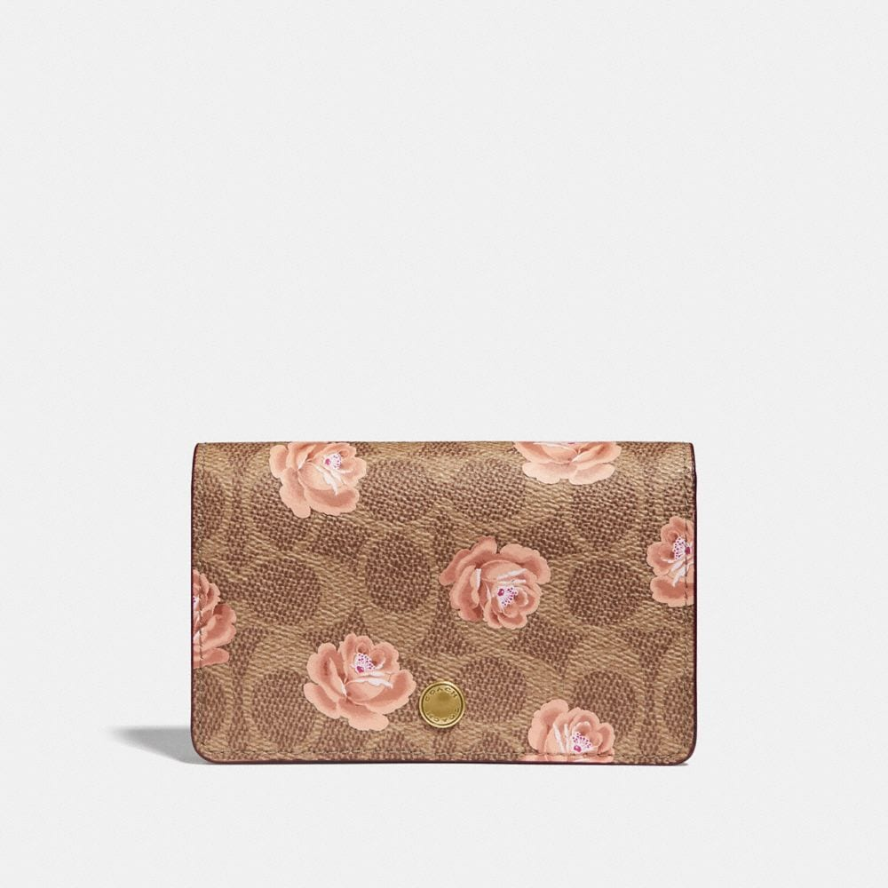 Coach Foldover Card Case in Signature Rose Print