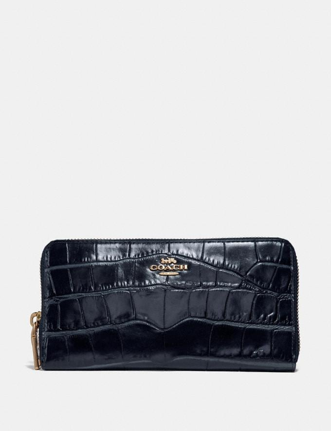 Coach Accordion Zip Wallet Midnight Navy/Light Gold CYBER MONDAY SALE Women's Sale Wallets & Wristlets