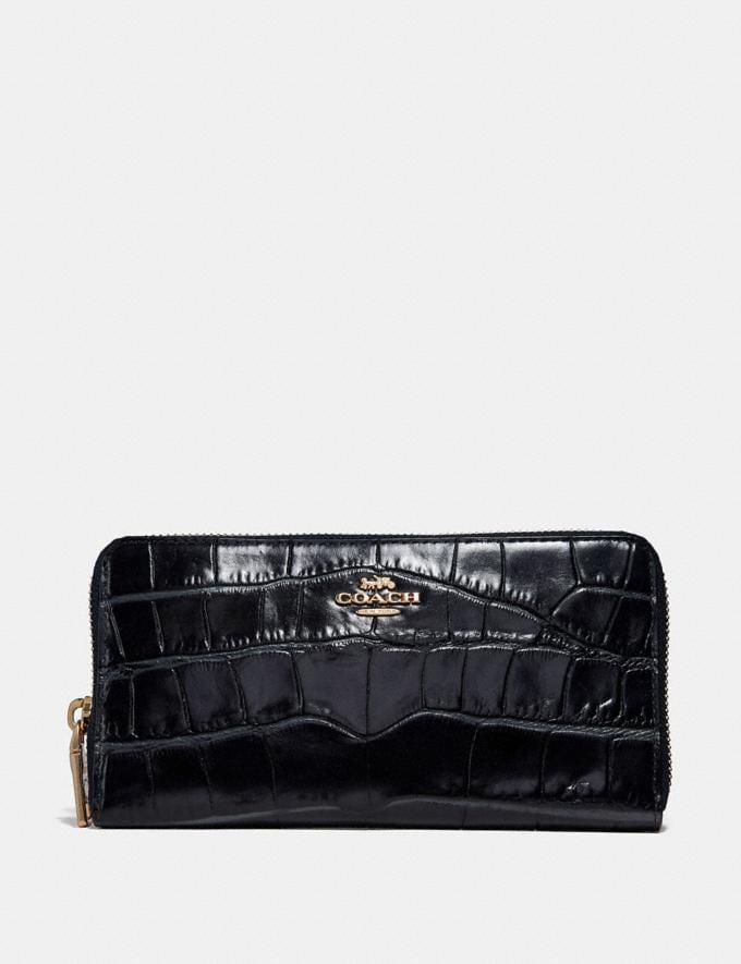 Coach Accordion Zip Wallet Light Gold/Black Women Wallets & Wristlets