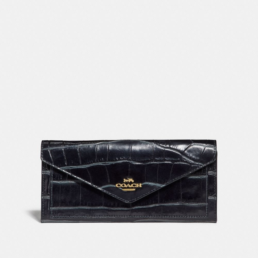 soft wallet in crocodile embossed leather