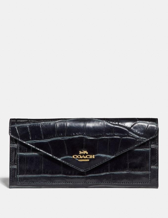 Coach Soft Wallet Midnight Navy/Light Gold Women Small Leather Goods Large Wallets