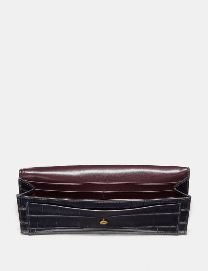 Coach Soft Wallet Midnight Navy/Light Gold Women Small Leather Goods Large Wallets Alternate View 1