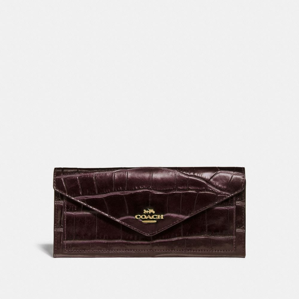 Coach Soft Wallet in Crocodile Embossed Leather