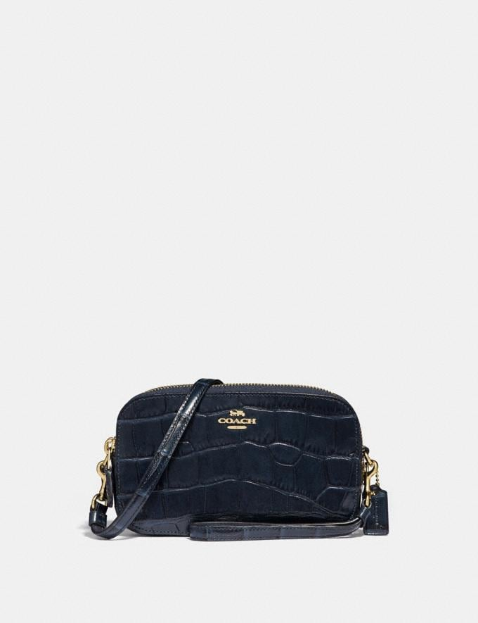 Coach Crossbody Clutch Midnight Navy/Light Gold Women Bags Clutches
