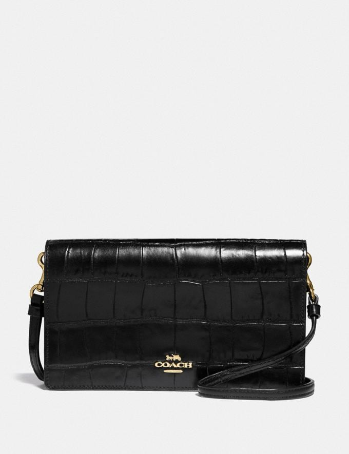 Coach Hayden Foldover Crossbody Clutch Black/Light Gold Women Bags Crossbody Bags