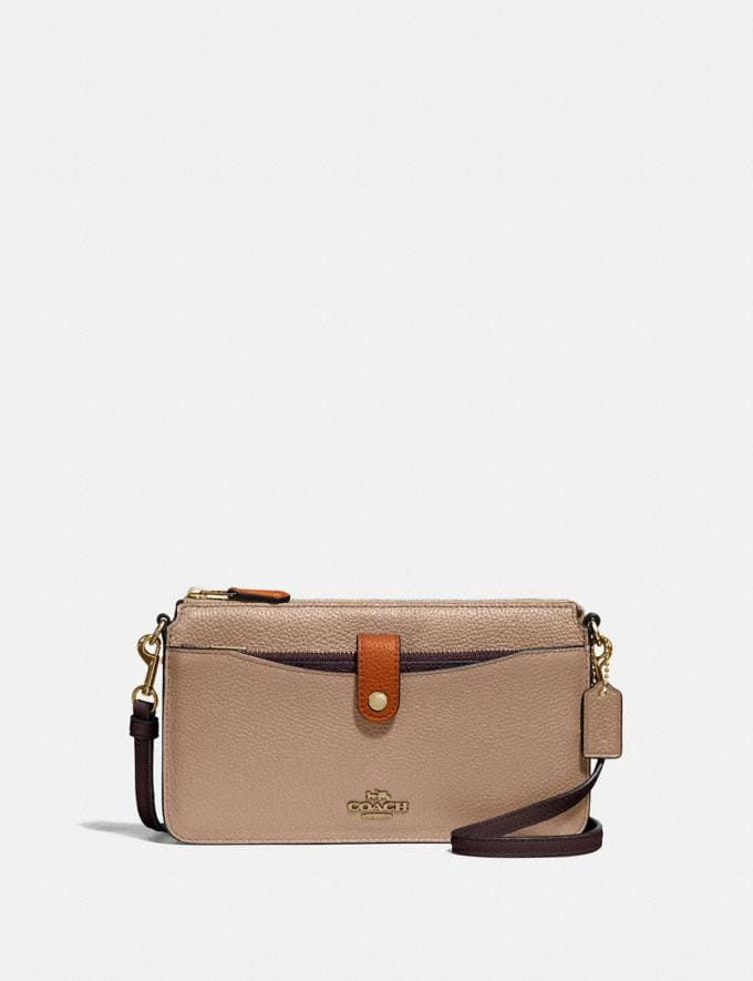 Coach Noa Pop-Up Messenger in Colorblock Brass/Taupe Ginger Multi Women Wallets & Wristlets