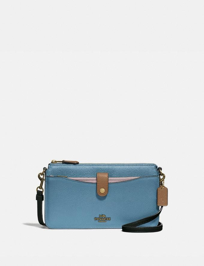 Coach Noa Pop-Up Messenger in Colorblock Brass/Pacific Blue Multi Gifts For Her Under $300