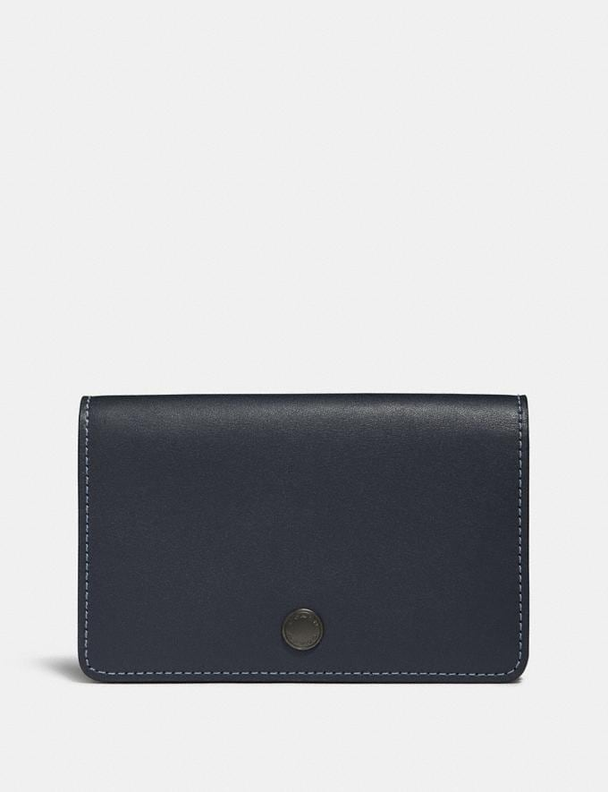 Coach Foldover Card Case Midnight Navy/Black Copper Women Wallets & Wristlets Small Wallets