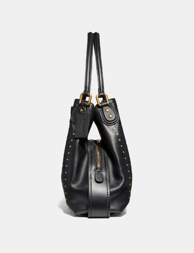 Coach Edie Shoulder Bag 31 in Signature Leather With Rivets Black Copper/Chalk New Featured Online-Only Alternate View 1